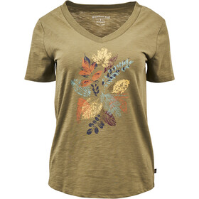 United By Blue Loose Leaf SS Graphic V-Neck Tee Women olive